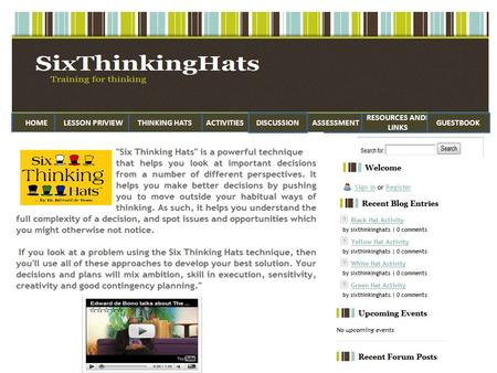 HOMEACTIVITIESLESSON PRIVIEWTHINKING HATSASSESSMENT RESOURCES ANDF LINKS DISCUSSIONGUESTBOOK.