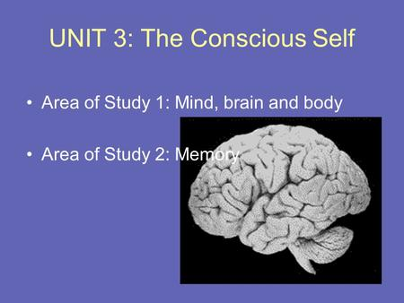 UNIT 3: The Conscious Self Area of Study 1: Mind, brain and body Area of Study 2: Memory.