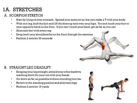 1A. STRETCHES SCORPION STRETCH STRAIGHT LEG DEADLIFT