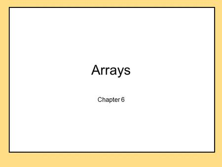 Arrays Chapter 6. Objectives learn about arrays and how to use them in Java programs learn how to use array parameters and how to define methods that.