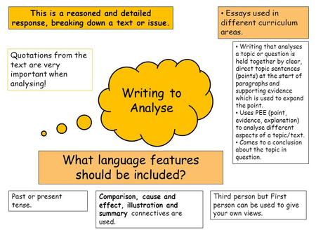 Essays used in different curriculum areas. Writing to Analyse This is a reasoned and detailed response, breaking down a text or issue. What language features.