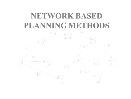 NETWORK BASED PLANNING METHODS. Planning, What is it? A common mistake: Not involving in the planning process the people who must do the work.