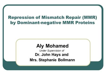 Repression of Mismatch Repair (MMR) by Dominant-negative MMR Proteins Aly Mohamed Under Supervision of Dr. John Hays and Mrs. Stephanie Bollmann.
