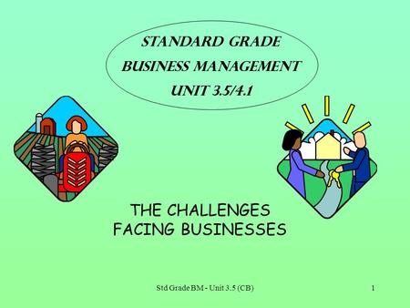Std Grade BM - Unit 3.5 (CB)1 Standard grade Business Management Unit 3.5/4.1 THE CHALLENGES FACING BUSINESSES.