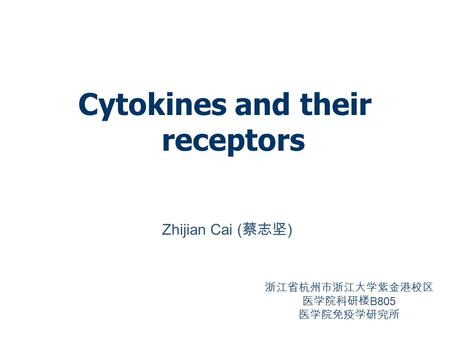 Cytokines and their receptors