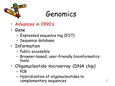 1 Genomics Advances in 1990 ' s Gene –Expressed sequence tag (EST) –Sequence database Information –Public accessible –Browser-based, user-friendly bioinformatics.