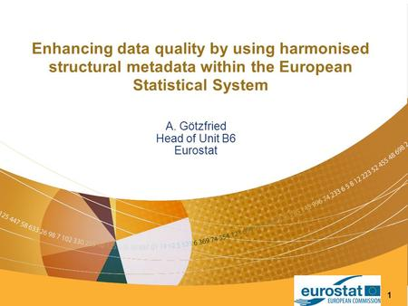 1 Enhancing data quality by using harmonised structural metadata within the European Statistical System A. Götzfried Head of Unit B6 Eurostat.