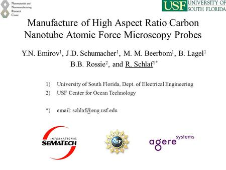 Manufacture of High Aspect Ratio Carbon Nanotube Atomic Force Microscopy Probes Y.N. Emirov 1, J.D. Schumacher 1, M. M. Beerbom 1, B. Lagel 1 B.B. Rossie.