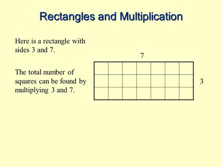 Rectangles and Multiplication Here is a rectangle with sides 3 and 7. The total number of squares can be found by multiplying 3 and 7. 3 7.