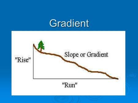 Gradient. Inquiry  How do we measure and describe gradients on maps and in the field?  How does a map indicate gradients?  What is the relationship.