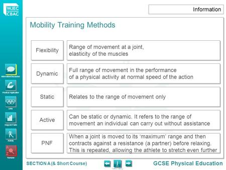 Information/Discussion Practical Application Links Diagram/Table Activity Revision GCSE Physical Education MAIN MENU SECTION A (& Short Course) Information.