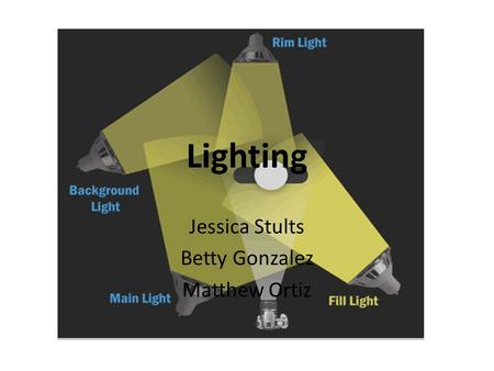 Lighting Jessica Stults Betty Gonzalez Matthew Ortiz.
