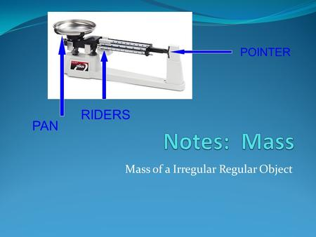 Mass of a Irregular Regular Object PAN RIDERS POINTER.