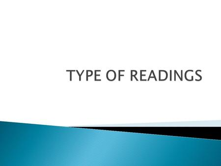  Several types of reading may occur in a language classroom:  Oral Silent Intensive a. linguistic b. content Extensive a. skimming  b. scanning.