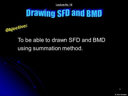 Dr. Ali H. Al-Gadhib 1 Lecture No. 16 To be able to drawn SFD and BMD using summation method.