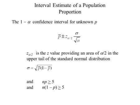 Interval Estimate of a Population Proportion z  /2 is the z value providing an area of  /2 in the upper tail of the standard normal distribution and.
