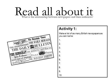 Read all about it Activity 1: