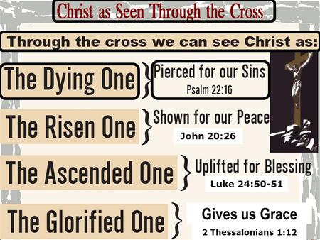 1 Luke 24:50-51 2 Thessalonians 1:12 Gives us Grace John 20:26.
