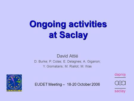 EUDET Meeting, Munich – October 18, 20061 Ongoing activities at Saclay David Attié D. Burke; P. Colas; E. Delagnes; A. Giganon; Y. Giomataris;