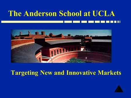 Targeting New and Innovative Markets The Anderson School at UCLA.