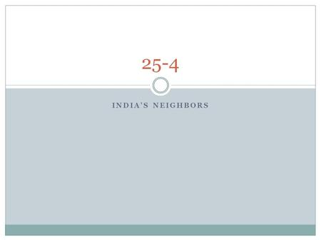 INDIA'S NEIGHBORS 25-4. Countries Pakistan Bangladesh Nepal Bhutan Sri Lanka.