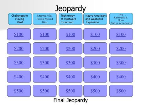 Jeopardy $100 Challenges to Moving West Reasons Why People Moved West Technology of Westward Expansion Native Americans and Westward Expansion The Railroads.