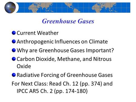 Greenhouse Gases Current Weather Anthropogenic Influences on Climate Why are Greenhouse Gases Important? Carbon Dioxide, Methane, and Nitrous Oxide Radiative.