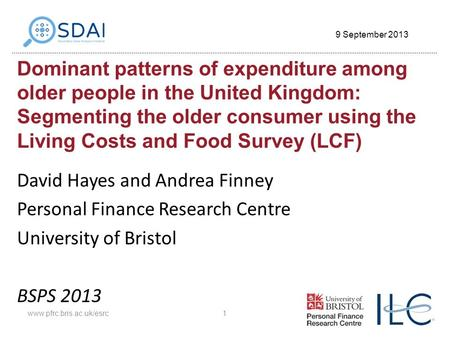 Dominant patterns of expenditure among older people in the United Kingdom: Segmenting the older consumer using the Living Costs and Food Survey (LCF) David.