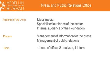 Press and Public Relations Office Process Management of information for the press Management of public relations Audience of the Office Mass media Specialized.