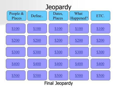 Jeopardy $100 People & Places Define.. Dates, Places What Happened? ETC. $200 $300 $400 $500 $400 $300 $200 $100 $500 $400 $300 $200 $100 $500 $400 $300.