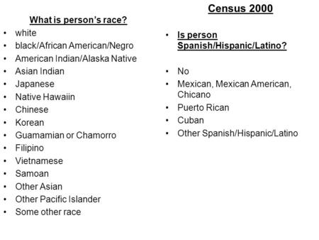 Census 2000 Is person Spanish/Hispanic/Latino? No Mexican, Mexican American, Chicano Puerto Rican Cuban Other Spanish/Hispanic/Latino What is person's.