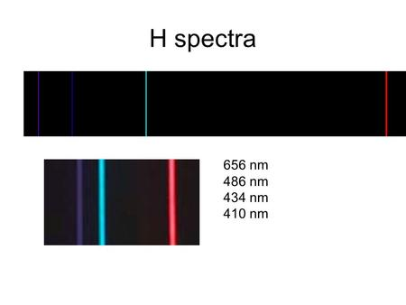 H spectra 656 nm 486 nm 434 nm 410 nm. Ne spectra 540.1green 585.2yellow 588.2yellow 603.0orange 607.4orange 616.4orange 621.7red-orange 626.6red-orange.