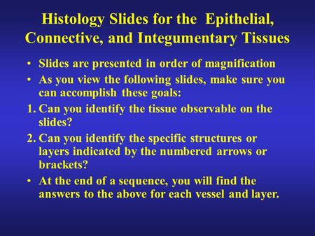 Histology Slides for the Epithelial, Connective, and Integumentary Tissues Slides are presented in order of magnification As you view the following slides,