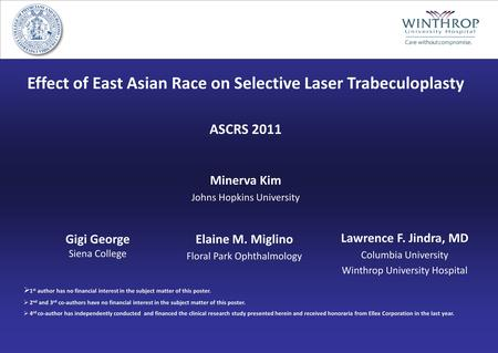 Effect of East Asian Race on Selective Laser Trabeculoplasty ASCRS 2011 Minerva Kim Johns Hopkins University Lawrence F. Jindra, MD Columbia University.