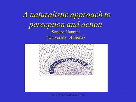 Siena, 20th-22nd October 20061 A naturalistic approach to perception and action Sandro Nannini (University of Siena) A naturalistic approach to perception.