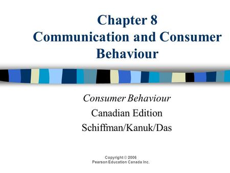 Chapter 8 Communication and Consumer Behaviour Consumer Behaviour Canadian Edition Schiffman/Kanuk/Das Copyright © 2006 Pearson Education Canada Inc.