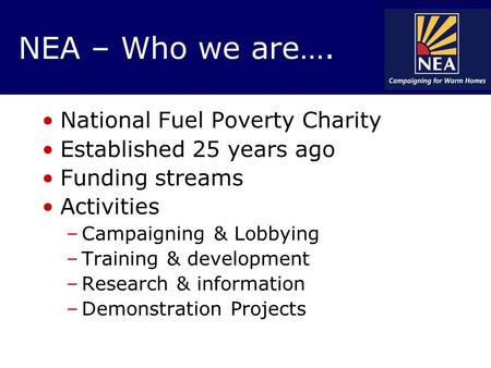 NEA – Who we are…. National Fuel Poverty Charity Established 25 years ago Funding streams Activities –Campaigning & Lobbying –Training & development –Research.