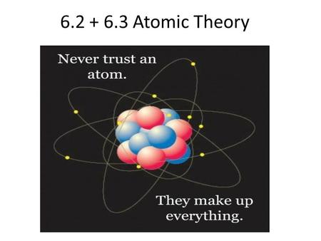 6.2 + 6.3 Atomic Theory. 6.2 The periodic table and atomic theory.