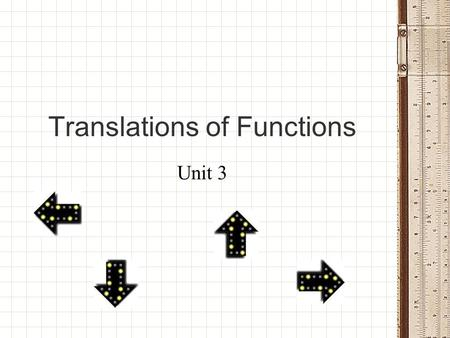 Translations of Functions Unit 3. Are you ready to slide? Sing along if you know it!