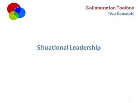 1 Collaboration Toolbox Two Concepts Situational Leadership.