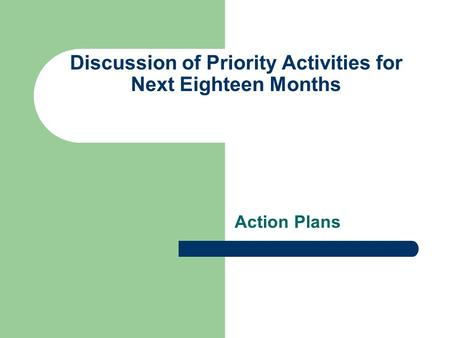 Discussion of Priority Activities for Next Eighteen Months Action Plans.