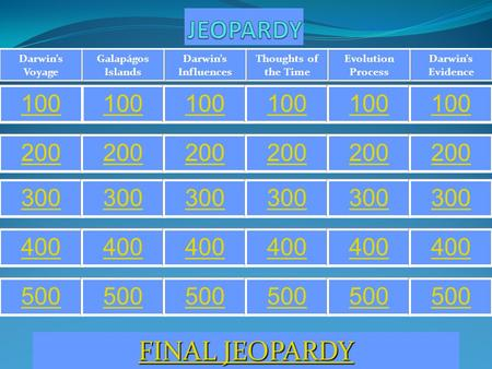 Darwin's Evidence Evolution Process Thoughts of the Time Darwin's Influences Galapágos Islands Darwin's Voyage 100 200 300 400 500 FINAL JEOPARDY FINAL.