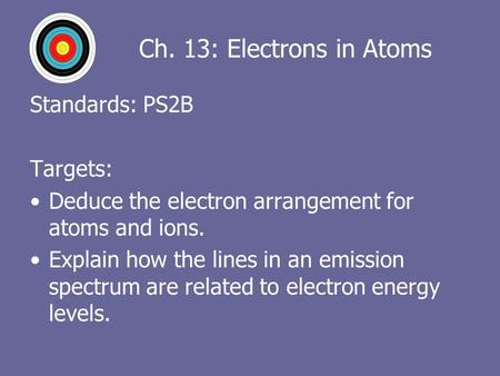 Ch. 13: Electrons in Atoms Standards: PS2B Targets: Deduce the electron arrangement for atoms and ions. Explain how the lines in an emission spectrum are.