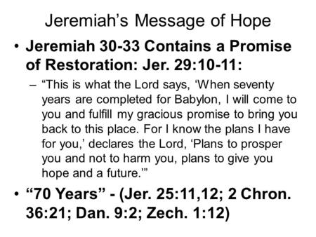 Jeremiah's Message of Hope