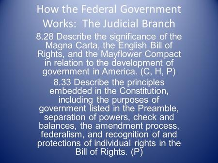 How the Federal Government Works: The Judicial Branch 8.28 Describe the significance of the Magna Carta, the English Bill of Rights, and the Mayflower.
