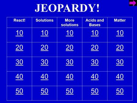 JEOPARDY! React!SolutionsMore solutions Acids and Bases Matter 10 20 30 40 50.