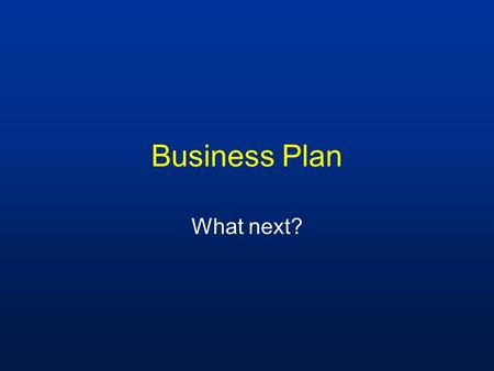 Business Plan What next?. Business Plan At 2006 annual meeting, business plan working groups were formed to write each section of the document.