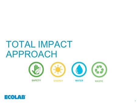 1 TOTAL IMPACT APPROACH 11. 222 THE ECOLAB APPROACH TO SUSTAINABILITY A comprehensive total impact approach that can help you Our products are designed.