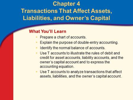 0 Glencoe Accounting Unit 2 Chapter 4 Copyright © by The McGraw-Hill Companies, Inc. All rights reserved. Chapter 4 Transactions That Affect Assets, Liabilities,