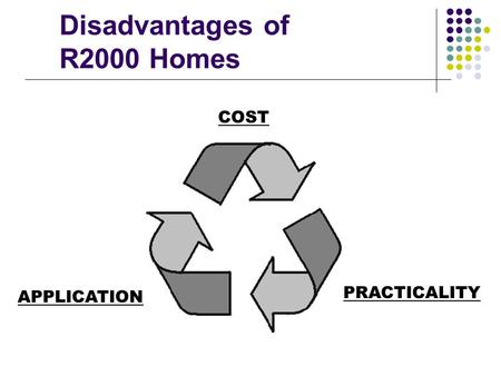 Disadvantages of R2000 Homes APPLICATION PRACTICALITY COST.